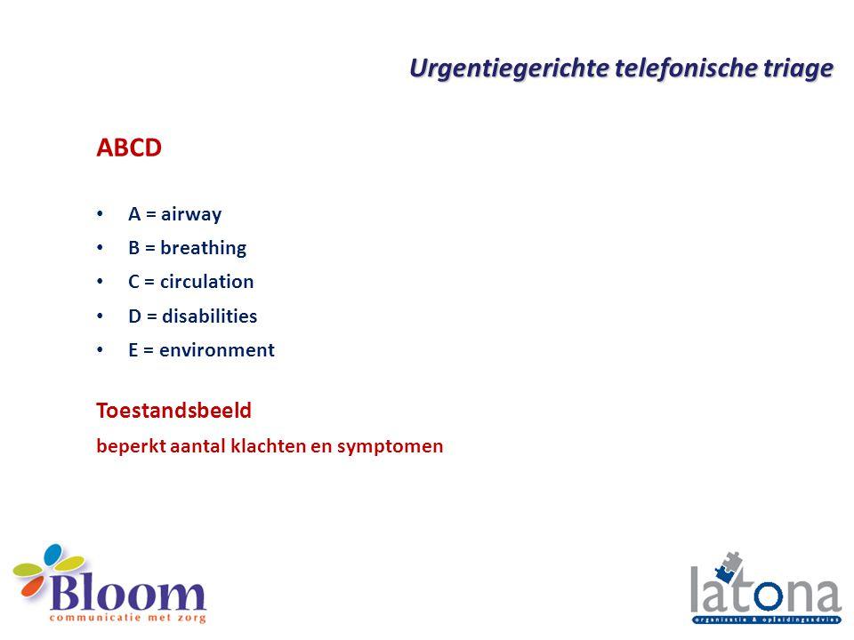 Urgentiegerichte telefonische triage Triage is 'sorteren' en vak apart ABCD en toestandsbeeld (geen diagnose) Vitale functies eerst Bedreiging orgaan of ledematen Urgentie en toestandsbeeld bepalend voor vervolg