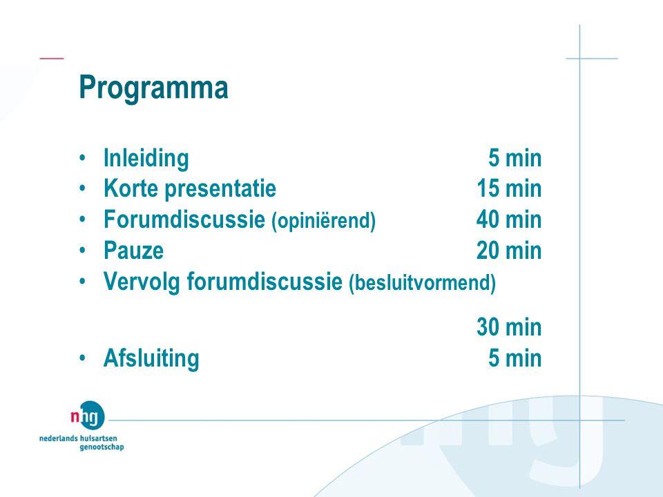 Programma Inleiding 5 min Korte presentatie15 min Forumdiscussie (opiniërend) 40 min Pauze20 min Vervolg forumdiscussie (besluitvormend) 30 min Afsluiting 5 min