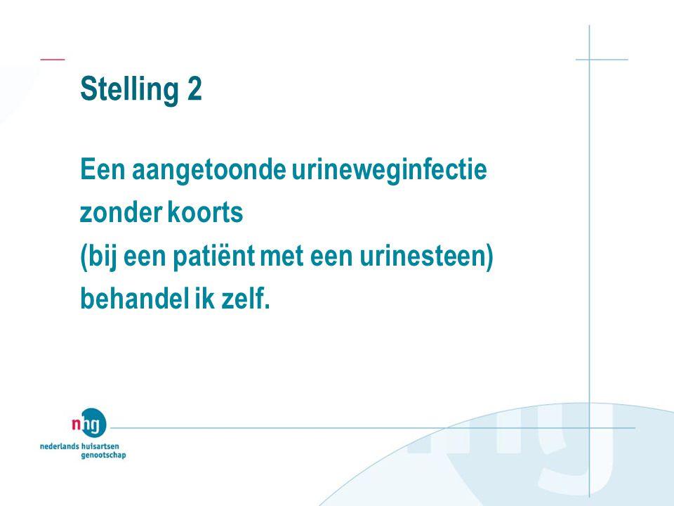 Stelling 2 Een aangetoonde urineweginfectie zonder koorts (bij een patiënt met een urinesteen) behandel ik zelf.
