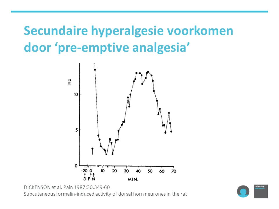 Secundaire hyperalgesie voorkomen door 'pre-emptive analgesia' DICKENSON et al. Pain 1987;30.349-60 Subcutaneous formalin-induced activity of dorsal h