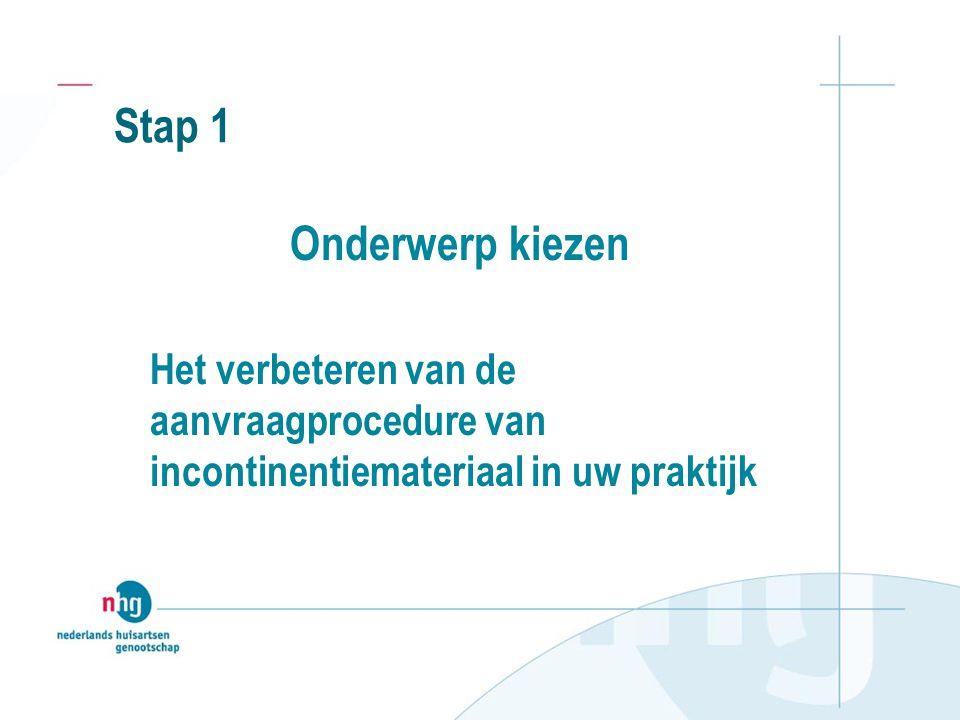 Stap 1 Onderwerp kiezen Het verbeteren van de aanvraagprocedure van incontinentiemateriaal in uw praktijk
