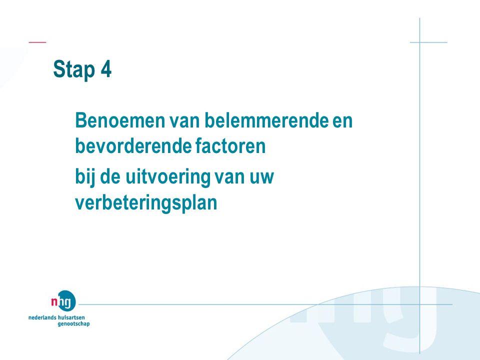 Stap 5 Opstelling van een plan van aanpak Maak een planning voor de uitvoering van het verbeteringsplan