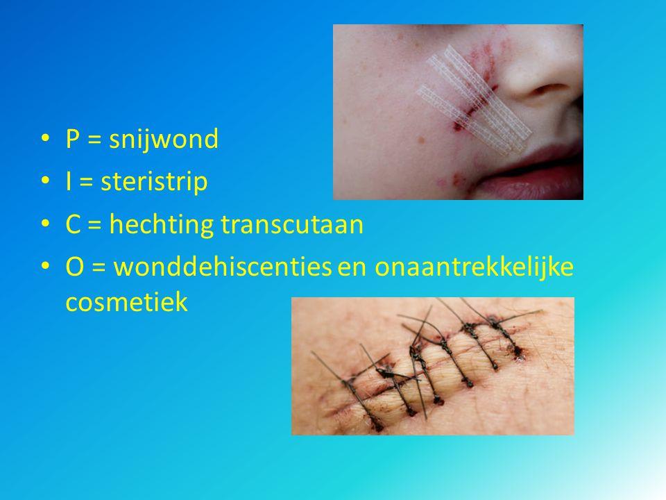 P = snijwond I = steristrip C = hechting transcutaan O = wonddehiscenties en onaantrekkelijke cosmetiek