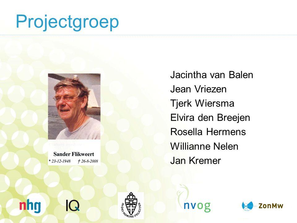 Projectgroep Jacintha van Balen Jean Vriezen Tjerk Wiersma Elvira den Breejen Rosella Hermens Willianne Nelen Jan Kremer