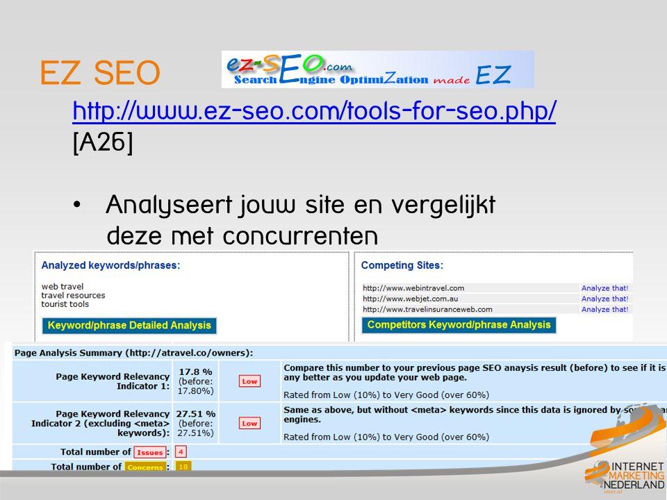 EZ SEO http://www.ez-seo.com/tools-for-seo.php/ http://www.ez-seo.com/tools-for-seo.php/ [A26] Analyseert jouw site en vergelijkt deze met concurrente