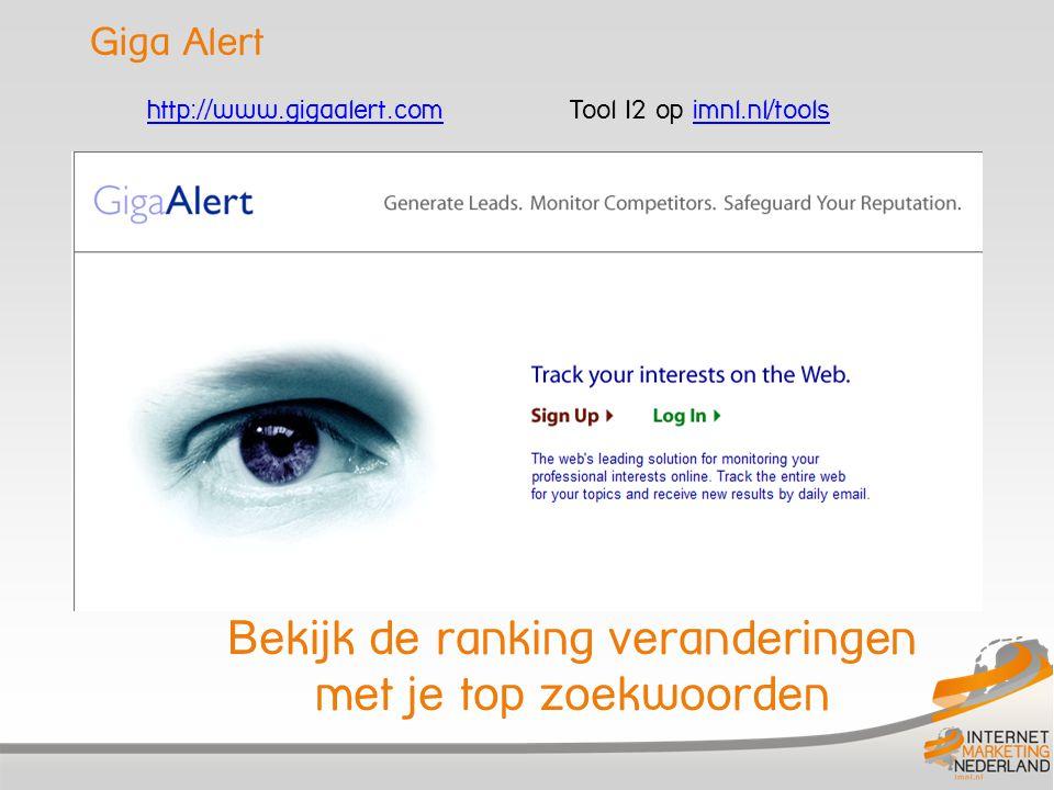 Giga Alert Bekijk de ranking veranderingen met je top zoekwoorden http://www.gigaalert.comhttp://www.gigaalert.com Tool I2 op imnl.nl/toolsimnl.nl/too