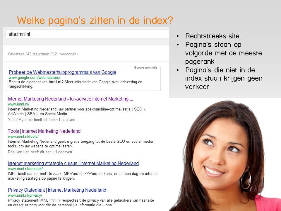 Welke pagina's zitten in de index? Rechtstreeks site: Pagina's staan op volgorde met de meeste pagerank Pagina's die niet in de index staan krijgen ge
