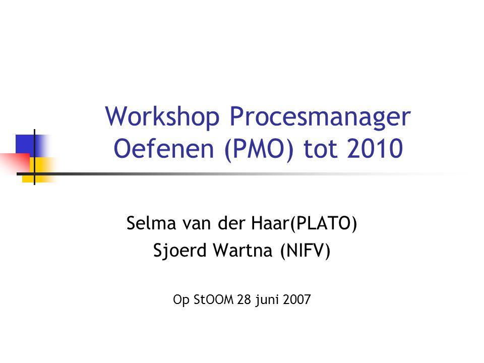 Workshop Procesmanager Oefenen (PMO) tot 2010 Selma van der Haar(PLATO) Sjoerd Wartna (NIFV) Op StOOM 28 juni 2007