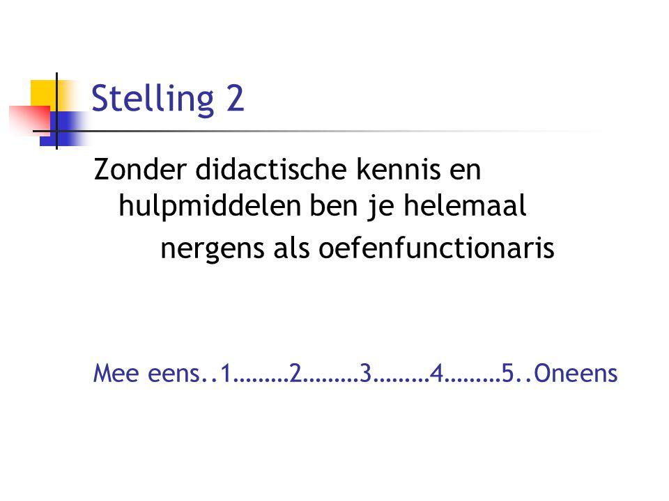 Stelling 2 Zonder didactische kennis en hulpmiddelen ben je helemaal nergens als oefenfunctionaris Mee eens..1………2………3………4………5..Oneens