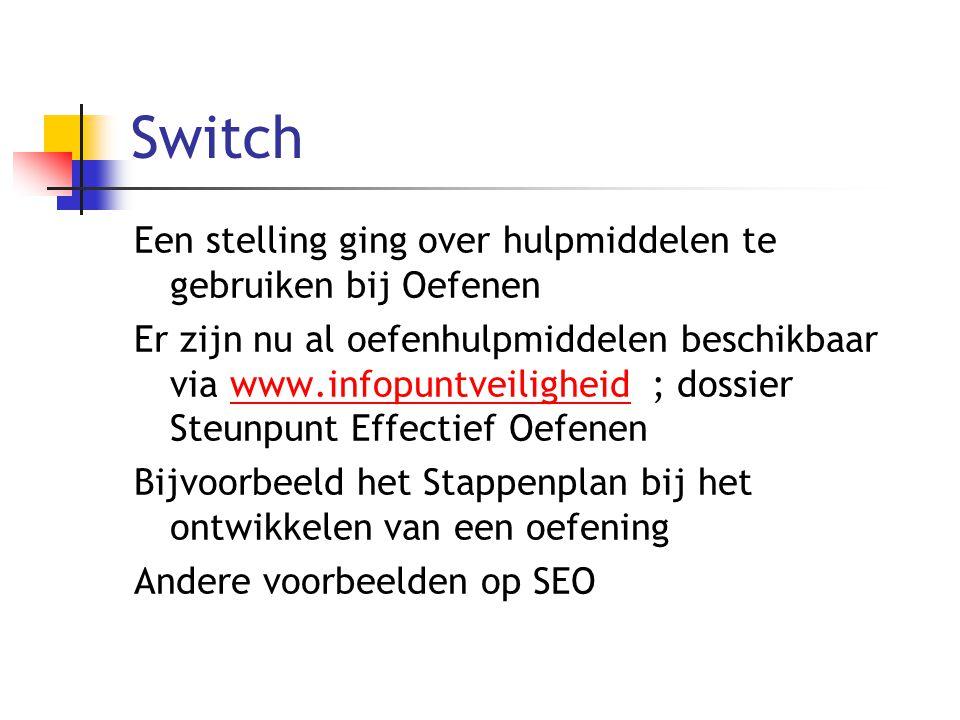 Switch Een stelling ging over hulpmiddelen te gebruiken bij Oefenen Er zijn nu al oefenhulpmiddelen beschikbaar via www.infopuntveiligheid ; dossier S