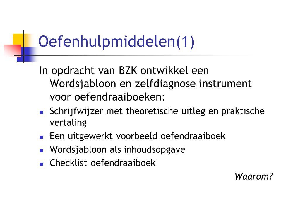 Oefenhulpmiddelen(1) In opdracht van BZK ontwikkel een Wordsjabloon en zelfdiagnose instrument voor oefendraaiboeken: Schrijfwijzer met theoretische u