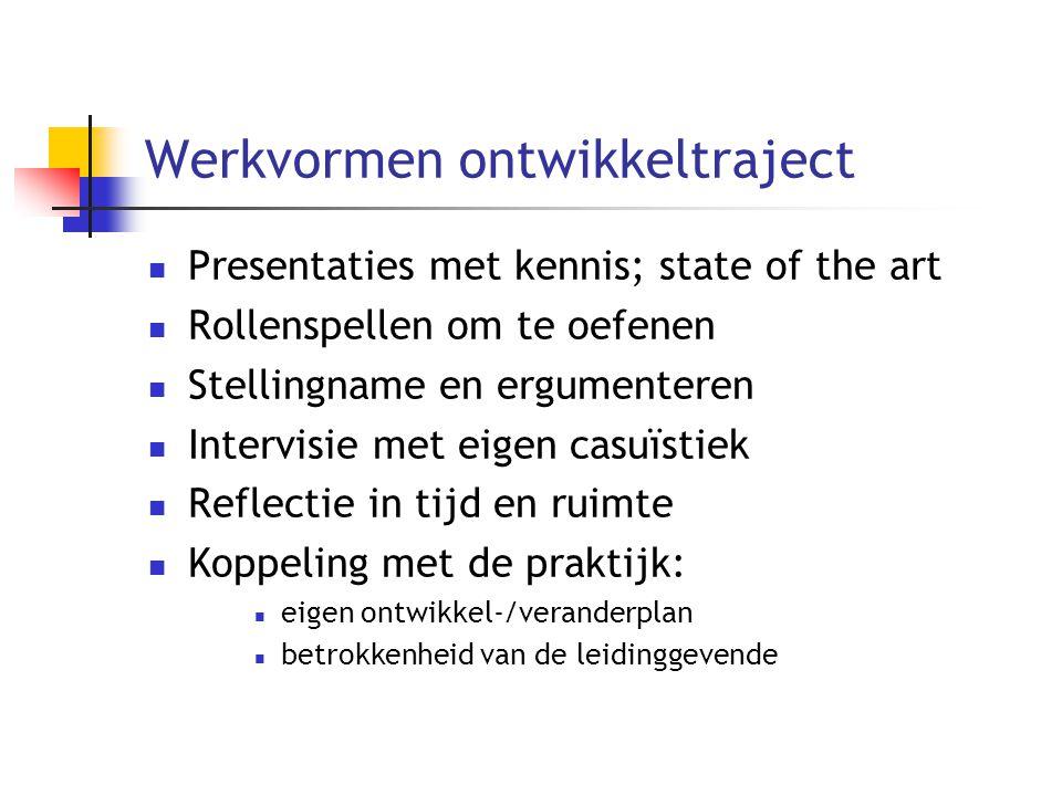 Werkvormen ontwikkeltraject Presentaties met kennis; state of the art Rollenspellen om te oefenen Stellingname en ergumenteren Intervisie met eigen ca
