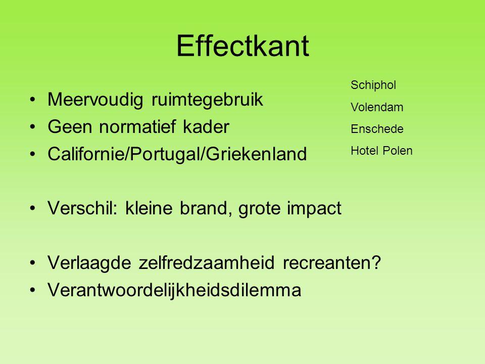 Effectkant Meervoudig ruimtegebruik Geen normatief kader Californie/Portugal/Griekenland Verschil: kleine brand, grote impact Verlaagde zelfredzaamheid recreanten.