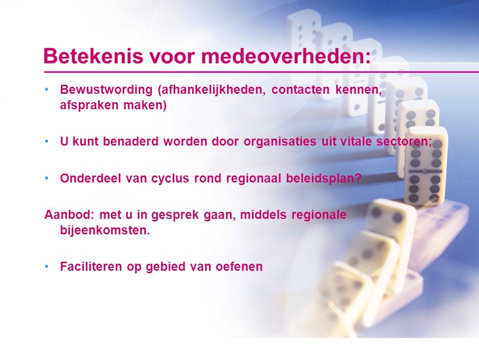 Betekenis voor medeoverheden: Bewustwording (afhankelijkheden, contacten kennen, afspraken maken) U kunt benaderd worden door organisaties uit vitale sectoren; Onderdeel van cyclus rond regionaal beleidsplan.