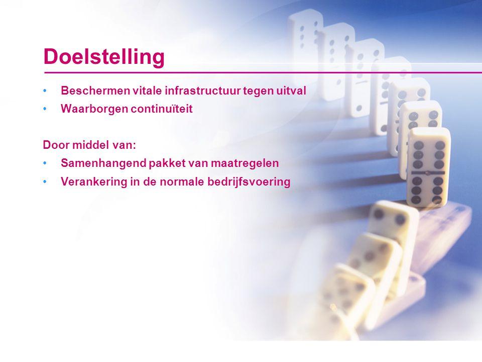 Doelstelling Beschermen vitale infrastructuur tegen uitval Waarborgen continuïteit Door middel van: Samenhangend pakket van maatregelen Verankering in de normale bedrijfsvoering