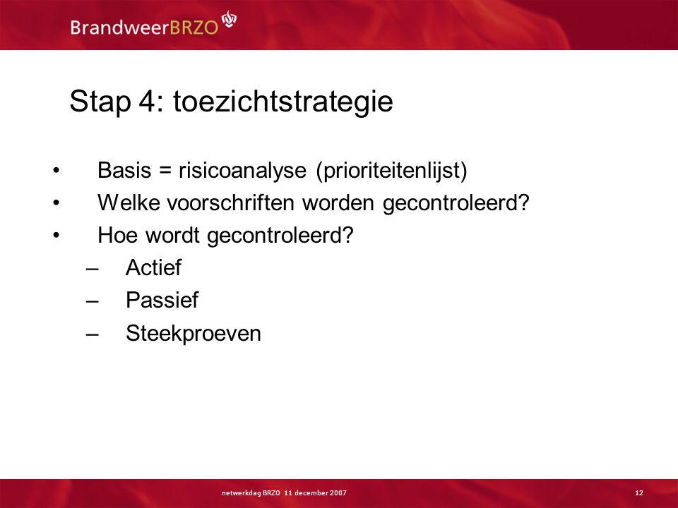 netwerkdag BRZO 11 december 200712 Stap 4: toezichtstrategie Basis = risicoanalyse (prioriteitenlijst) Welke voorschriften worden gecontroleerd? Hoe w