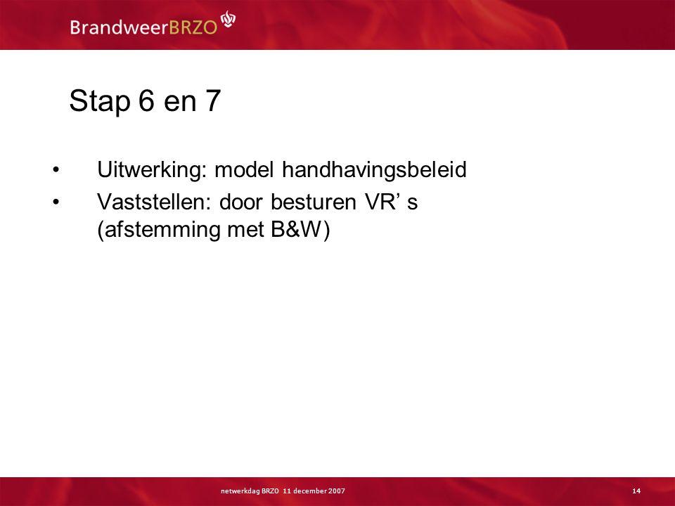 netwerkdag BRZO 11 december 200714 Stap 6 en 7 Uitwerking: model handhavingsbeleid Vaststellen: door besturen VR' s (afstemming met B&W)