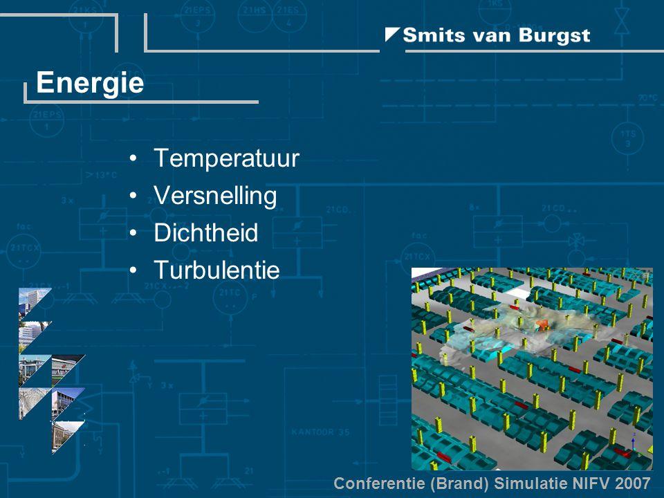 Conferentie (Brand) Simulatie NIFV 2007 Energie Temperatuur Versnelling Dichtheid Turbulentie