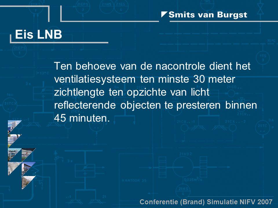 Conferentie (Brand) Simulatie NIFV 2007 Eis LNB Ten behoeve van de nacontrole dient het ventilatiesysteem ten minste 30 meter zichtlengte ten opzichte van licht reflecterende objecten te presteren binnen 45 minuten.