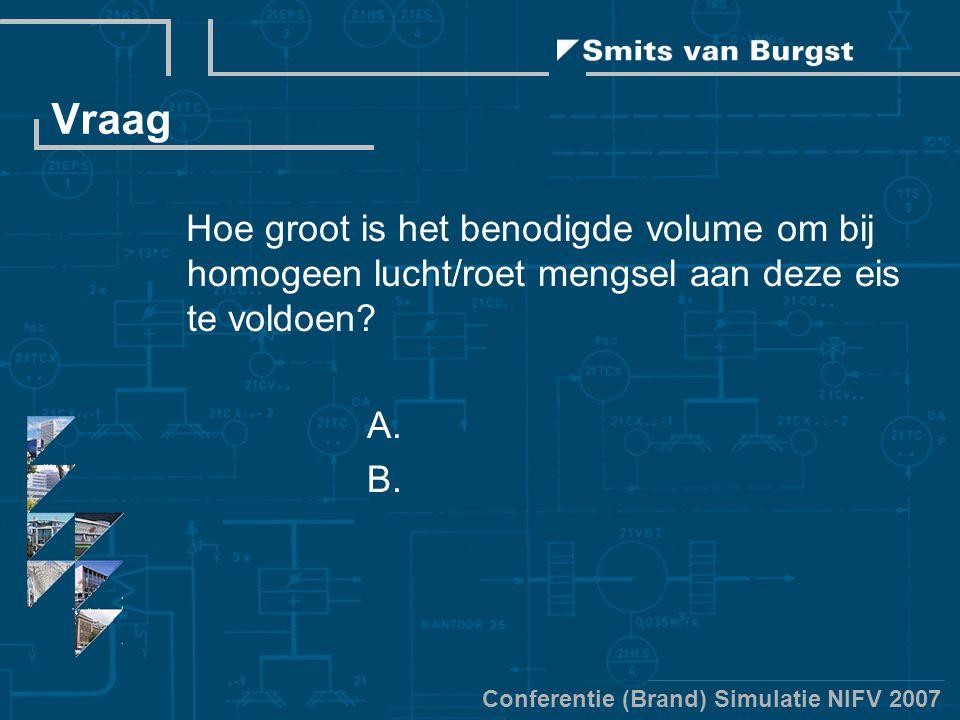 Conferentie (Brand) Simulatie NIFV 2007 Vraag Hoe groot is het benodigde volume om bij homogeen lucht/roet mengsel aan deze eis te voldoen? A. B.