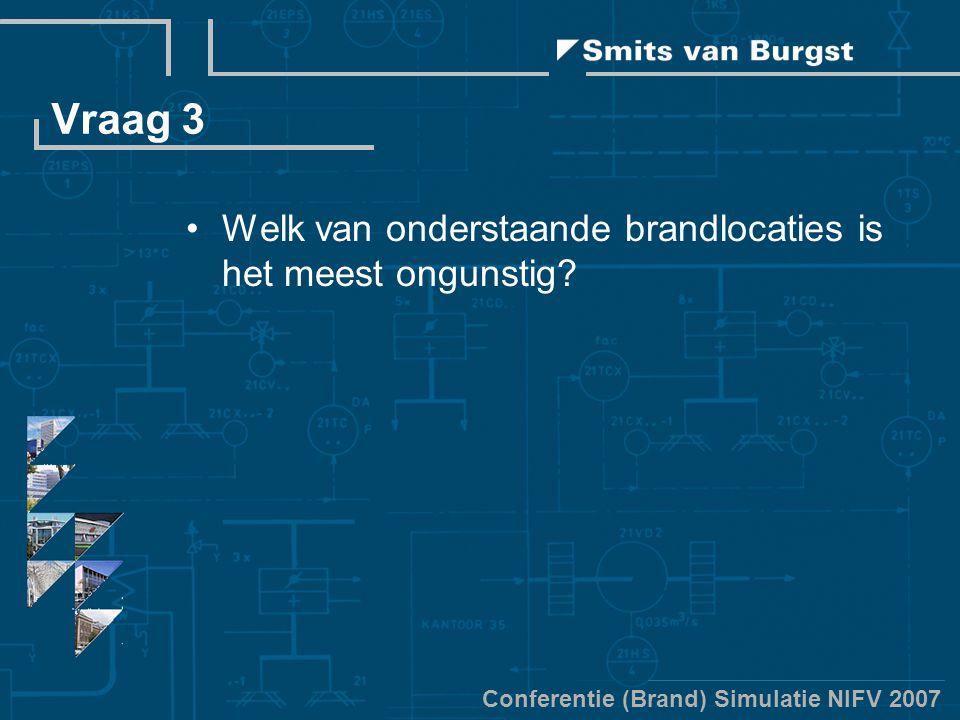 Conferentie (Brand) Simulatie NIFV 2007 Vraag 3 Welk van onderstaande brandlocaties is het meest ongunstig?