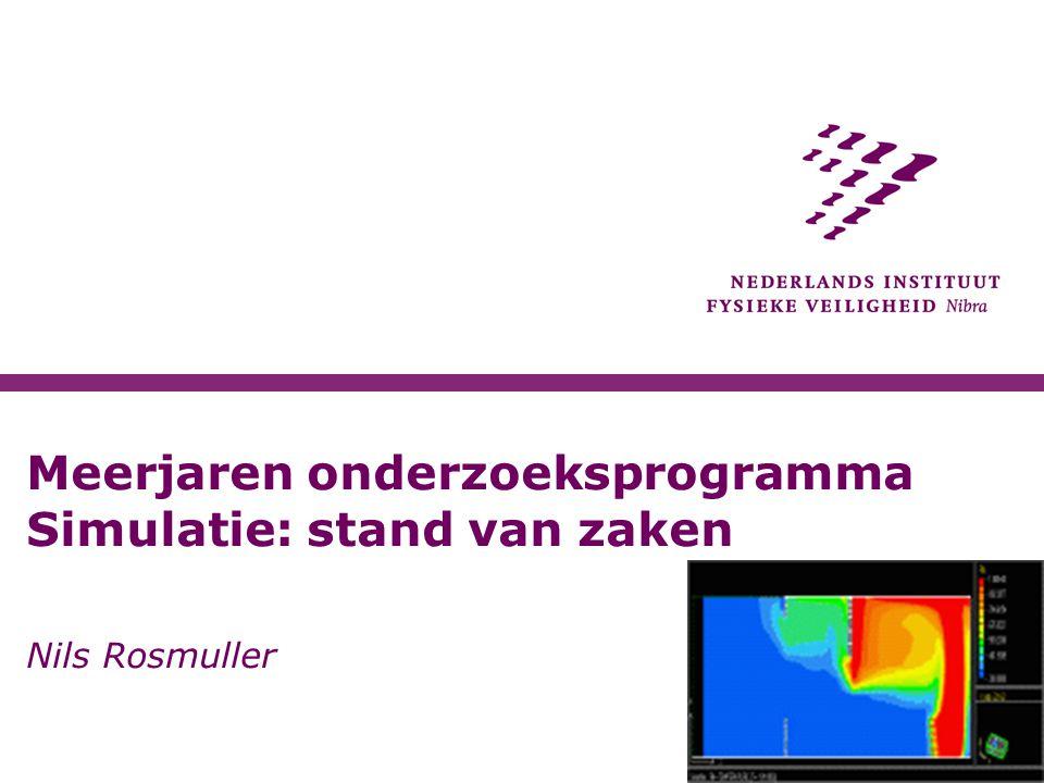 Meerjaren onderzoeksprogramma Simulatie: stand van zaken Nils Rosmuller