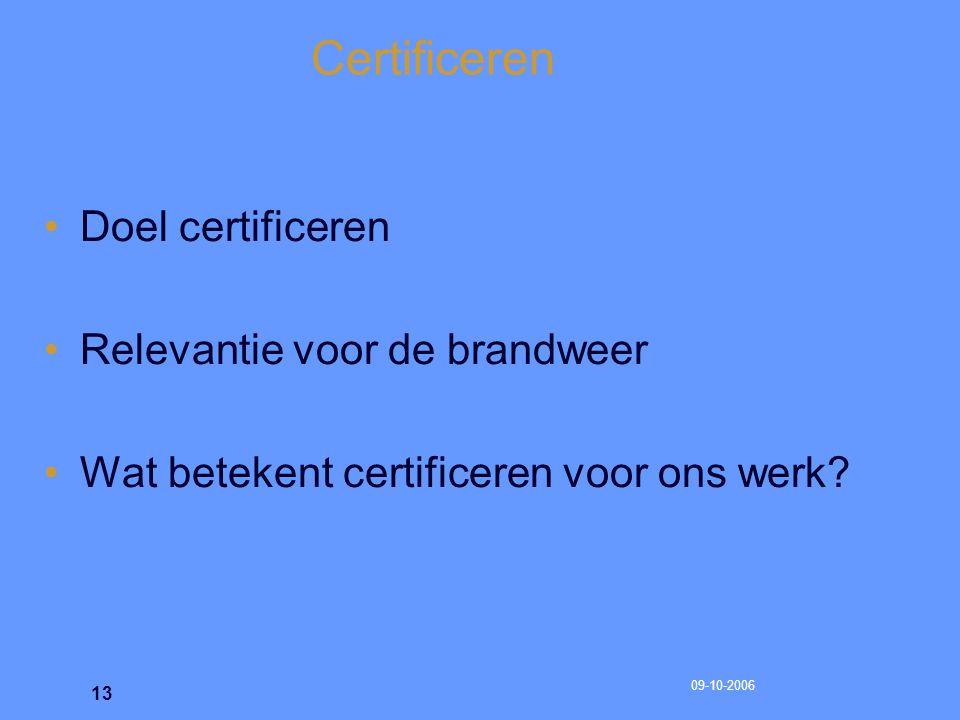 09-10-2006 14 Certificeren Op eenduidige en verifieerbare wijze vastleggen van het proces Inclusief: heldere en toetsbare afkeurcriteria voor de periodieke inspecties.
