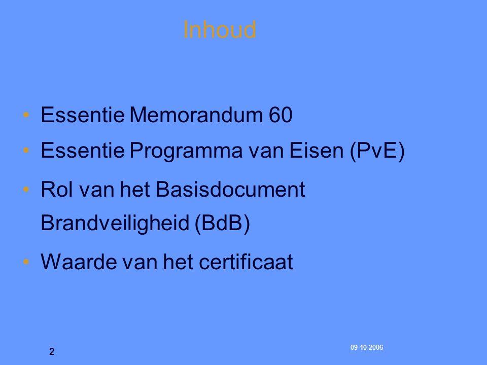09-10-2006 3 Memorandum 60 Integrale brandveiligheid op basis van BIO = Bouwkundige voorzieningen; organisatorische maatregelen; en aanwezige installaties Memorandum 60 geeft de voorschriften voor de sprinkler-, brandmeld- en ontruimingsalarminstallatie – inclusief het onderhoud en beheer in samenhang met het Vwb