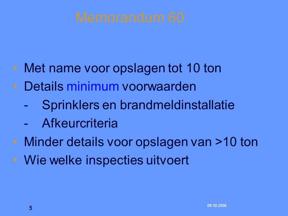 09-10-2006 6 Memorandum 60 Doel Memo 60 Memorandum 60 is het normatieve referentiekader voor de brandbeveiliging Continue optimale beveiliging van bewaarplaatsen en verkoopruimten voor consumentenvuurwerk