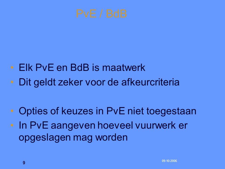 09-10-2006 10 PvE / BdB Brandweer is deskundig adviseur voor bevoegd gezag bij beoordelen van PvE / BdB
