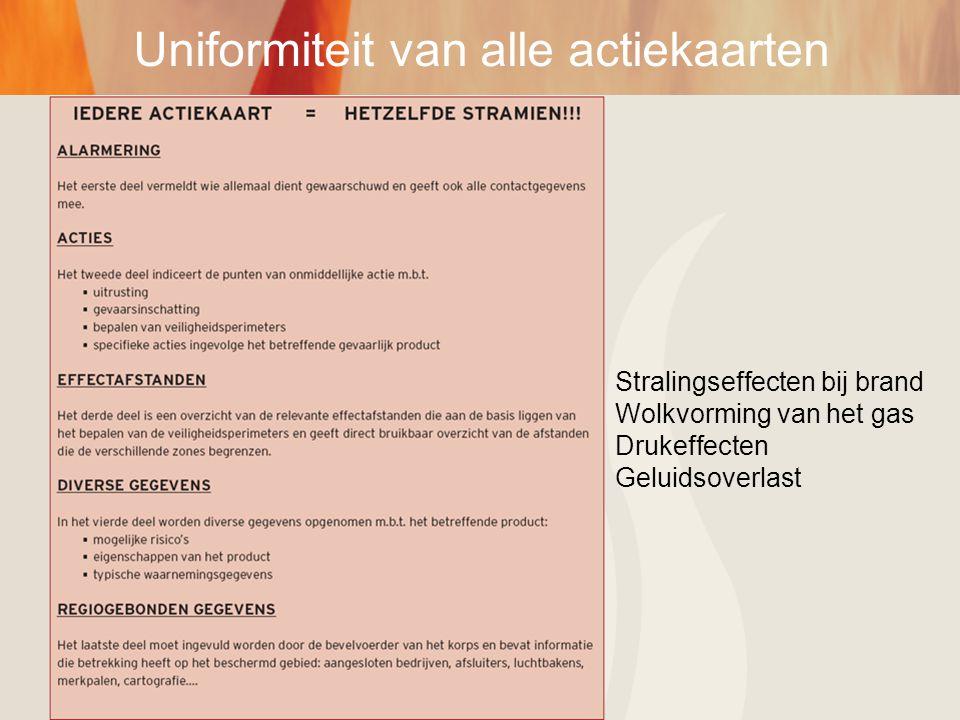 Uniformiteit van alle actiekaarten Stralingseffecten bij brand Wolkvorming van het gas Drukeffecten Geluidsoverlast