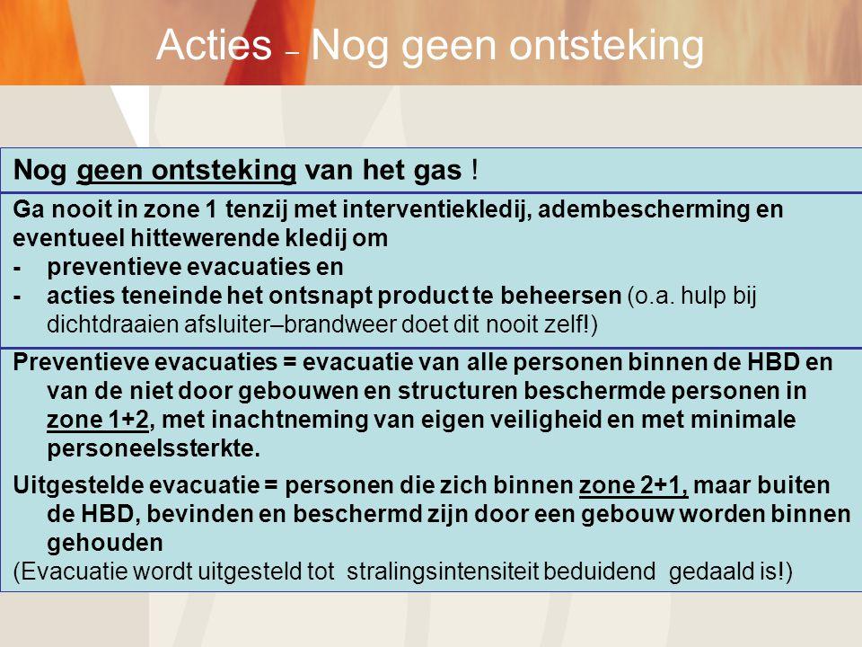 Acties – Nog geen ontsteking Nog geen ontsteking van het gas ! Ga nooit in zone 1 tenzij met interventiekledij, adembescherming en eventueel hittewere