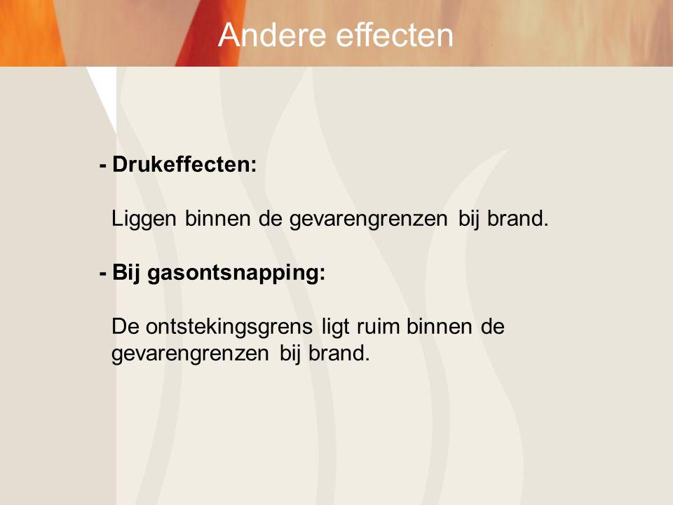 - Drukeffecten: Liggen binnen de gevarengrenzen bij brand. - Bij gasontsnapping: De ontstekingsgrens ligt ruim binnen de gevarengrenzen bij brand.