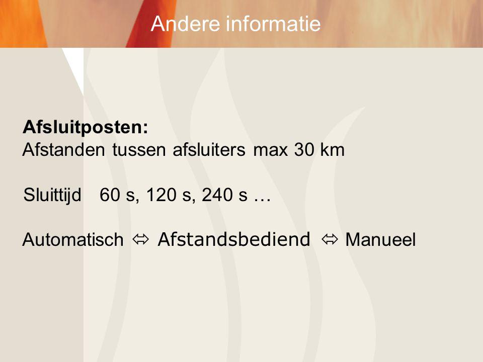 Andere informatie Afsluitposten: Afstanden tussen afsluiters max 30 km Sluittijd 60 s, 120 s, 240 s … Automatisch  Afstandsbediend  Manueel