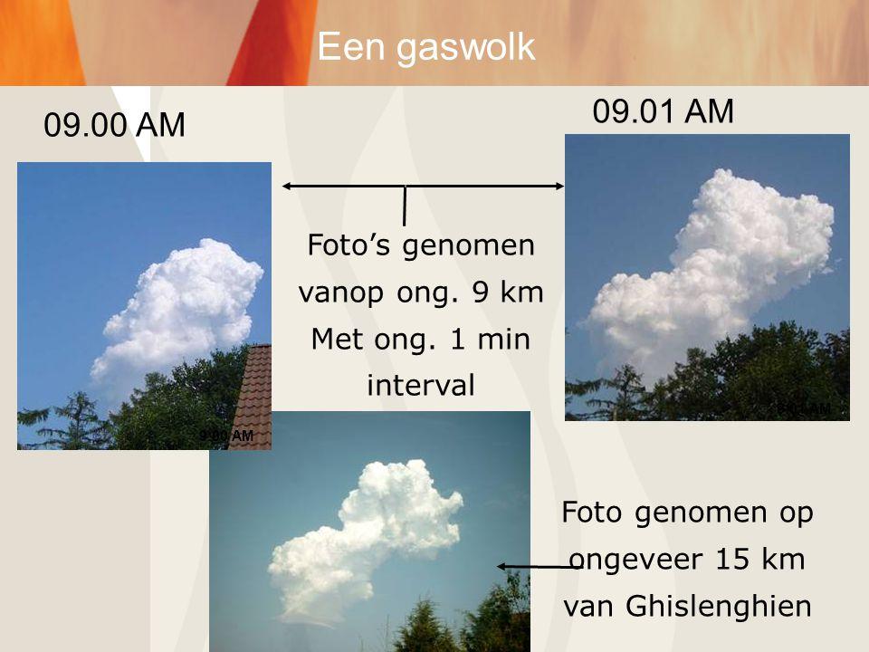 9:00 AM 9:01 AM Foto genomen op ongeveer 15 km van Ghislenghien Foto's genomen vanop ong. 9 km Met ong. 1 min interval Een gaswolk 09.00 AM 09.01 AM