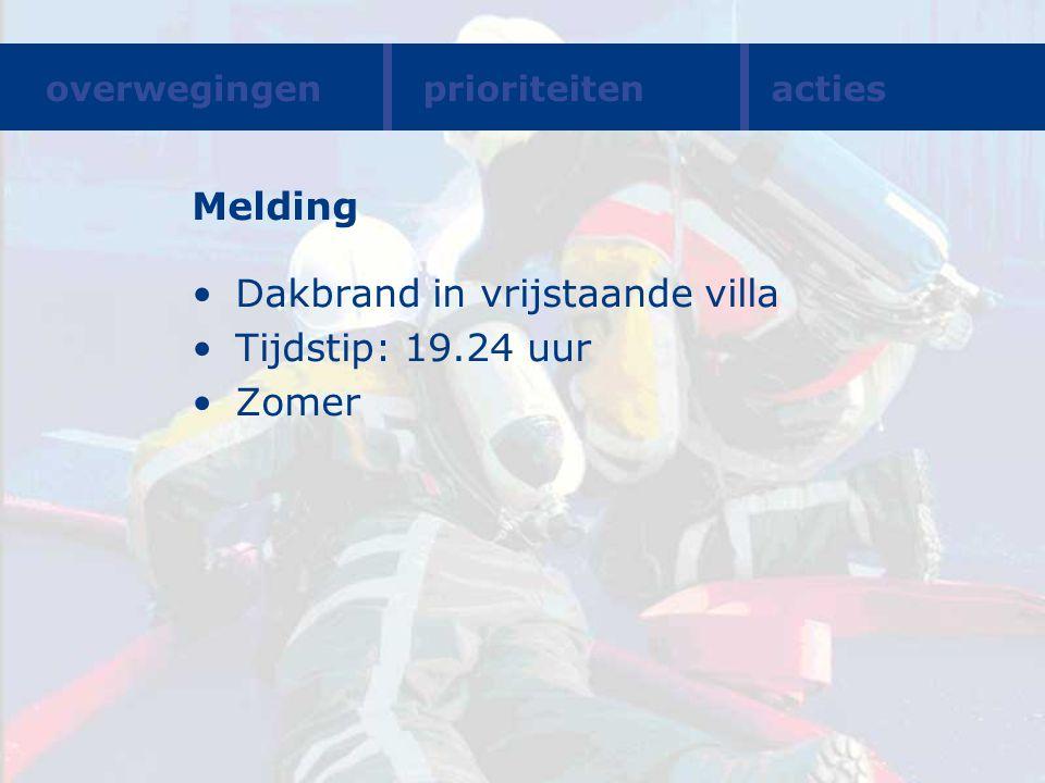 Melding Dakbrand in vrijstaande villa Tijdstip: 19.24 uur Zomer overwegingenprioriteitenacties