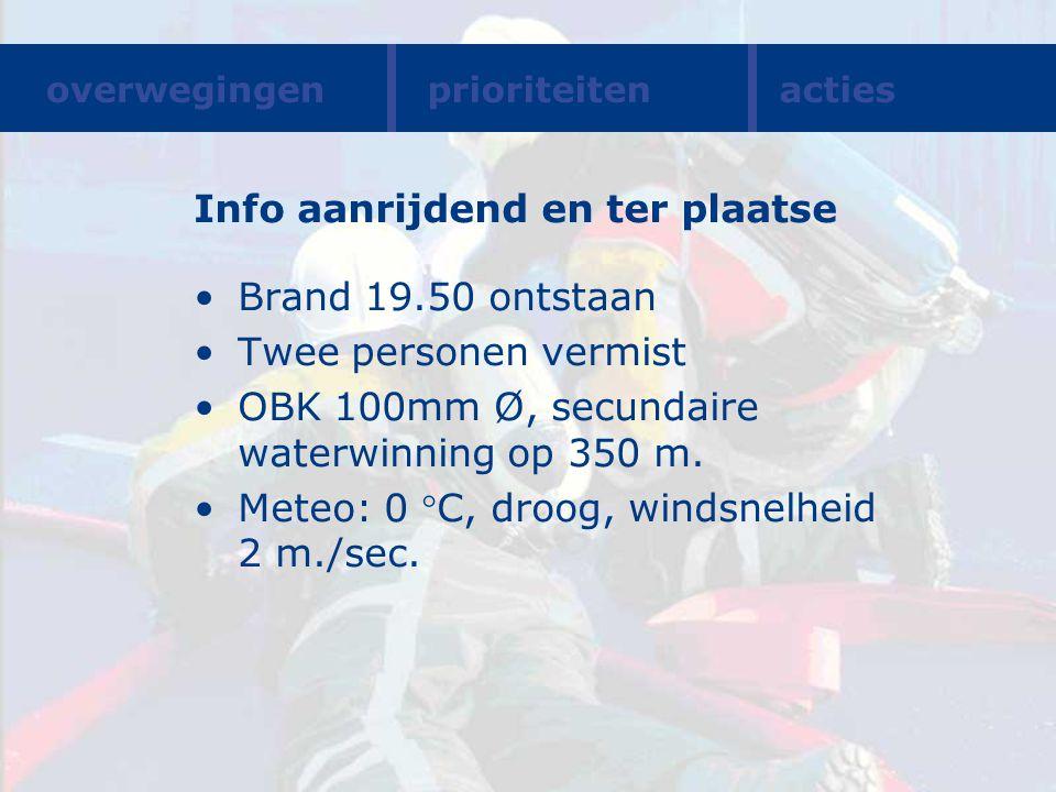 Info aanrijdend en ter plaatse Brand 19.50 ontstaan Twee personen vermist OBK 100mm Ø, secundaire waterwinning op 350 m. Meteo: 0 C, droog, windsnelh