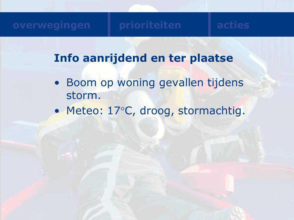 Info aanrijdend en ter plaatse Boom op woning gevallen tijdens storm.