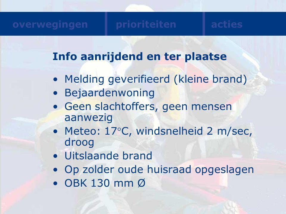 Info aanrijdend en ter plaatse Melding geverifieerd (kleine brand) Bejaardenwoning Geen slachtoffers, geen mensen aanwezig Meteo: 17C, windsnelheid 2
