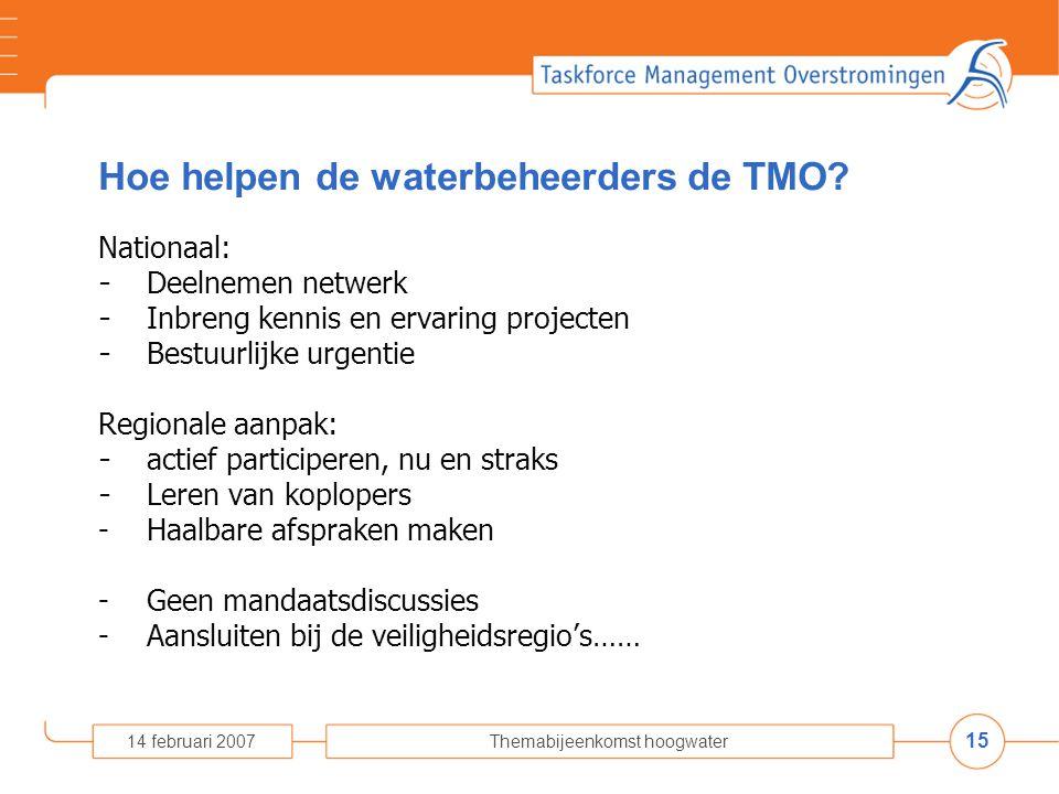 15 14 februari 2007Themabijeenkomst hoogwater Hoe helpen de waterbeheerders de TMO.