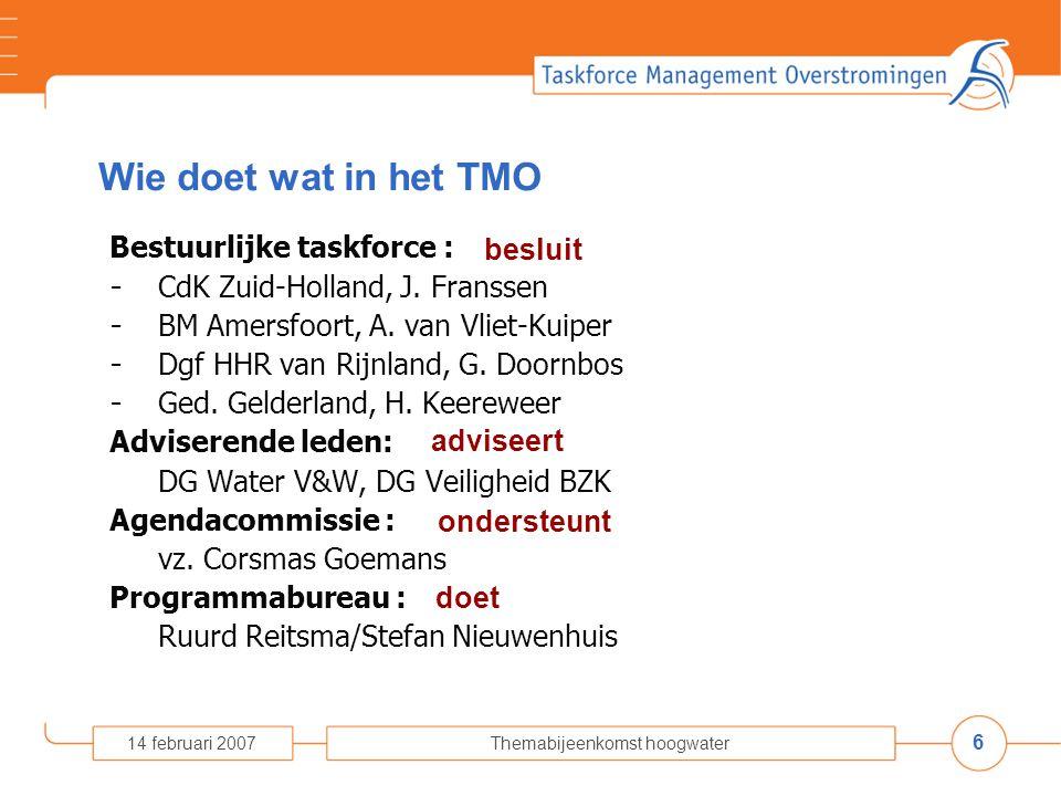 6 14 februari 2007Themabijeenkomst hoogwater Wie doet wat in het TMO Bestuurlijke taskforce : - CdK Zuid-Holland, J.