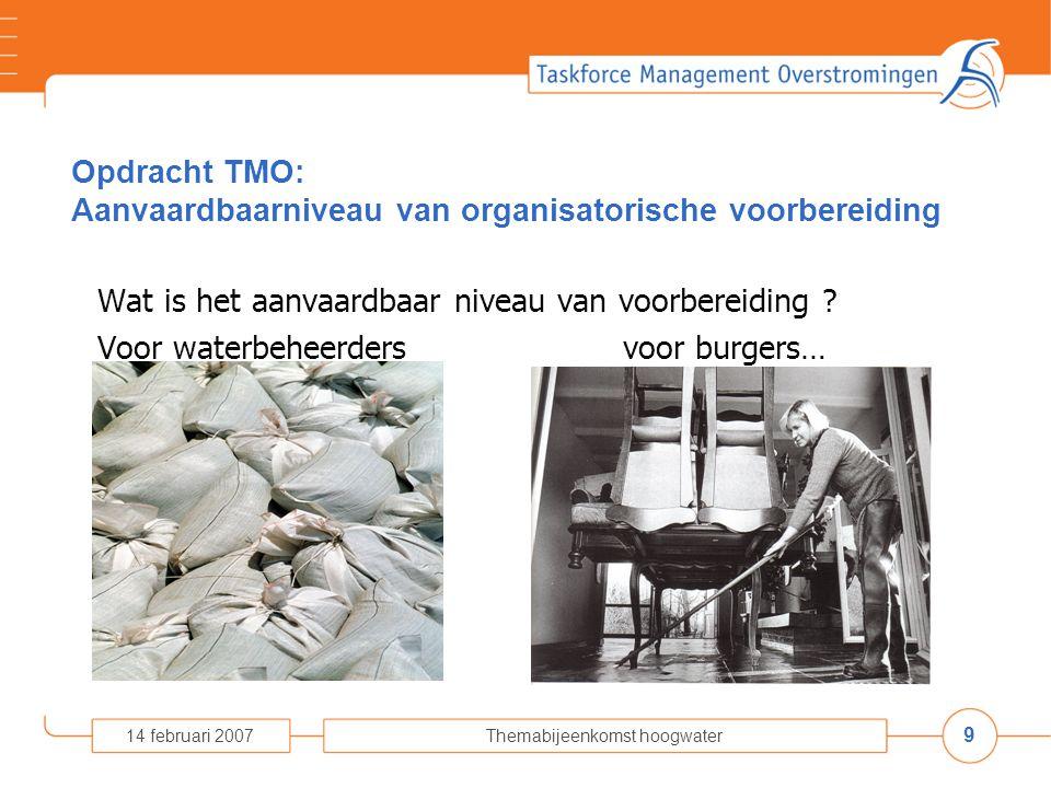9 14 februari 2007Themabijeenkomst hoogwater Opdracht TMO: Aanvaardbaarniveau van organisatorische voorbereiding Wat is het aanvaardbaar niveau van voorbereiding .