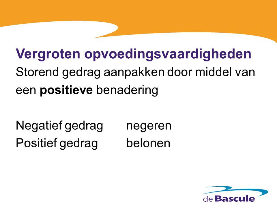 Vergroten opvoedingsvaardigheden Storend gedrag aanpakken door middel van een positieve benadering Negatief gedragnegeren Positief gedragbelonen