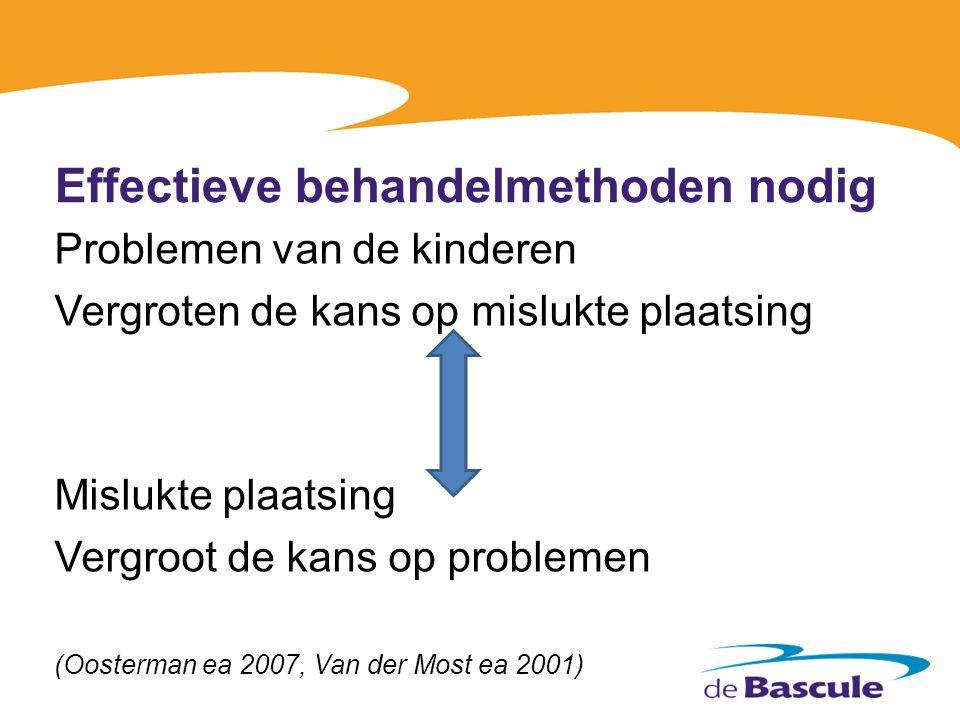 Effectieve behandelmethoden nodig Problemen van de kinderen Vergroten de kans op mislukte plaatsing Mislukte plaatsing Vergroot de kans op problemen (