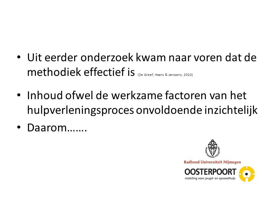 Uit eerder onderzoek kwam naar voren dat de methodiek effectief is (De Greef, Haans & Janssens, 2010) Inhoud ofwel de werkzame factoren van het hulpve