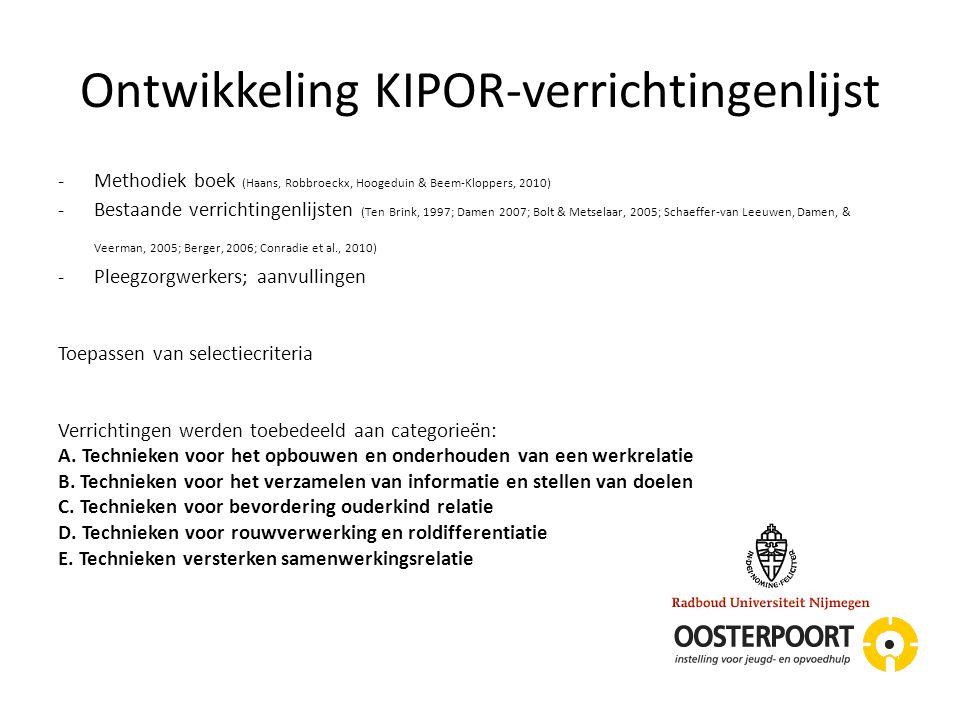 Ontwikkeling KIPOR-verrichtingenlijst -Methodiek boek (Haans, Robbroeckx, Hoogeduin & Beem-Kloppers, 2010) -Bestaande verrichtingenlijsten (Ten Brink,