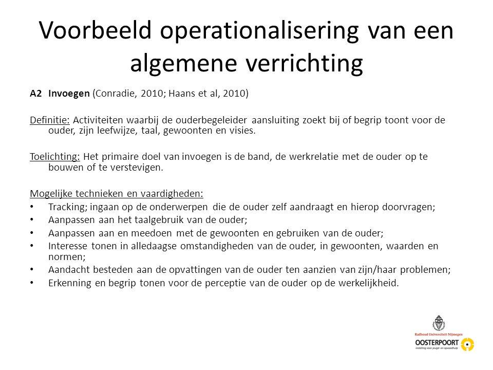 Voorbeeld operationalisering van een algemene verrichting A2Invoegen (Conradie, 2010; Haans et al, 2010) Definitie: Activiteiten waarbij de ouderbegel