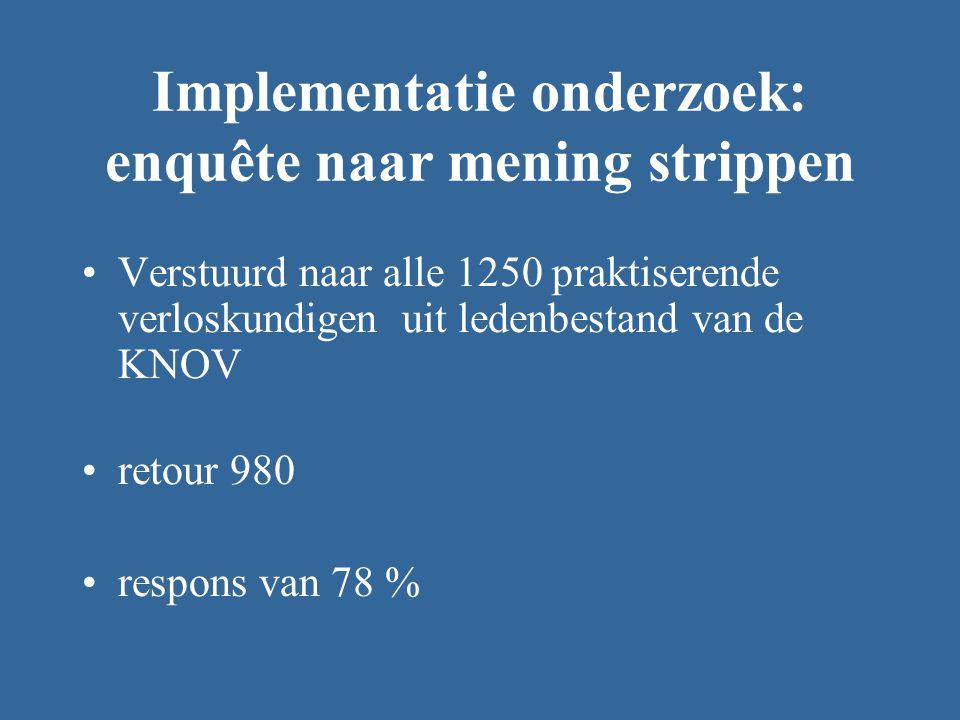 Implementatie onderzoek: enquête naar mening strippen Verstuurd naar alle 1250 praktiserende verloskundigen uit ledenbestand van de KNOV retour 980 respons van 78 %