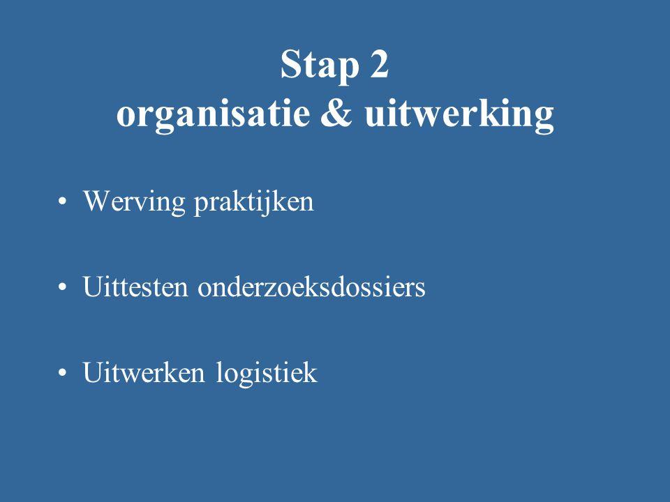 Stap 2 organisatie & uitwerking Werving praktijken Uittesten onderzoeksdossiers Uitwerken logistiek