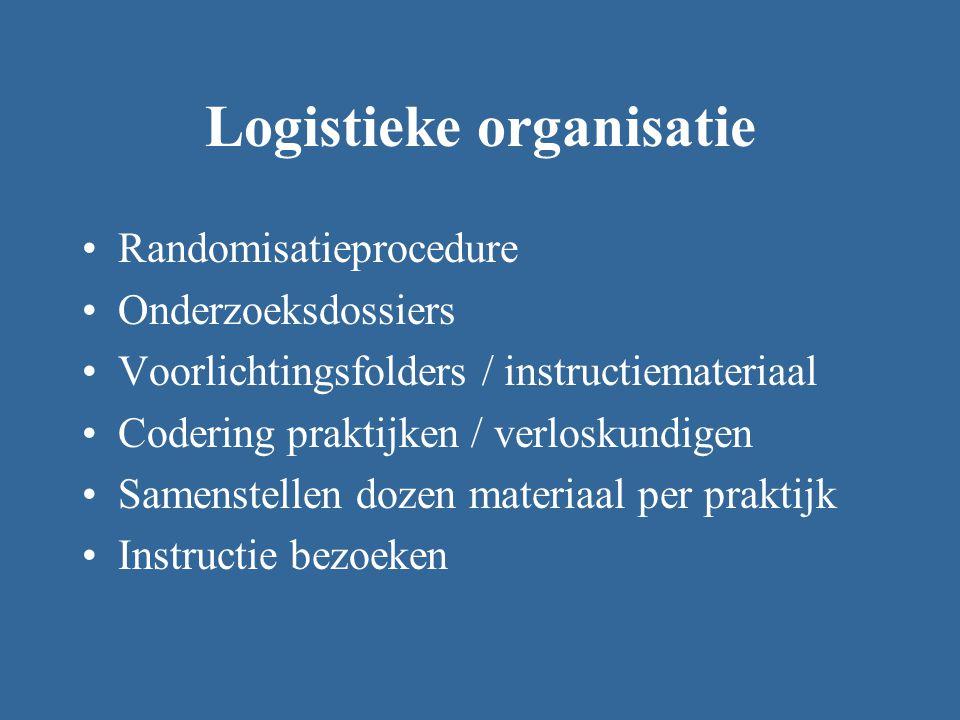 Logistieke organisatie Randomisatieprocedure Onderzoeksdossiers Voorlichtingsfolders / instructiemateriaal Codering praktijken / verloskundigen Samenstellen dozen materiaal per praktijk Instructie bezoeken
